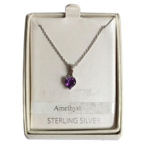 New Sterling Silver Amethyst Heart Necklace